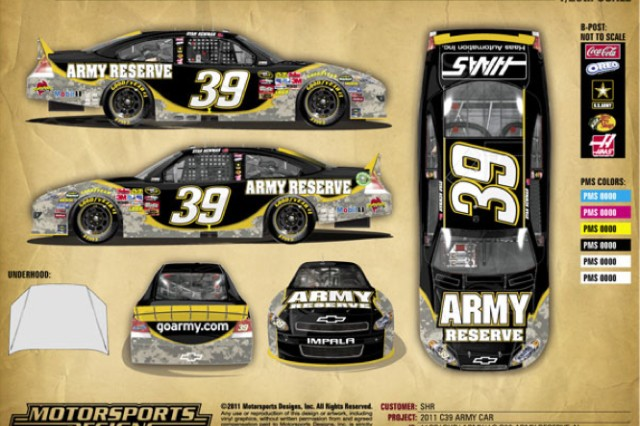 Ryan Newman's No. 39 U.S. Army Chevrolet will pay tribute to the men and women of the Army Reserve in the Samsung Mobile 500 NASCAR Sprint Cup race April 9, at Texas Motor Speedway, with this paint job.