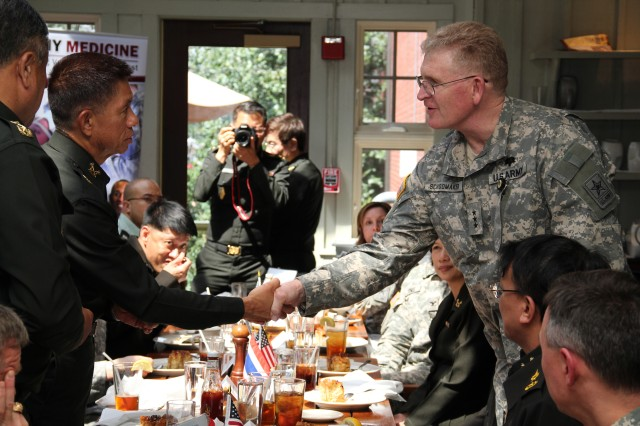 U.S. Army Surgeon General, Lt. Gen Eric Schoomaker, hosted a luncheon, April 4, for the Royal Thai Army Surgeon General, Lt. Gen. Sahachart Pipithkul,  and his delegation of senior medical department personnel, which included Lt. Gen. Thavatchai Sasiprapha, commander, Phramongkutklao Military Medical Center, Bangkok.  This visit is an annual event in which the Thai surgeon general and a contingent of medical officers travel to the U.S. to visit the U.S. Army surgeon general and other important stakeholders in the relationship and collaboration with Thailand.  The Royal Thai Army Medical Department plays a significant role in international military medicine and will host the Asia-Pacific Military Medicine Conference (with PACOM) in 2012.