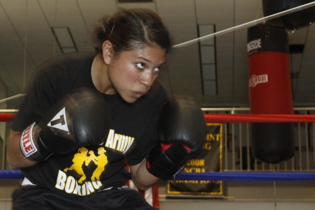 Class of 2013 Cadet Jessica Jordan practices during a recent training session as the team prepares for their West Point debut April 8, in five exhibition bouts against other East Coast collegiate boxers.