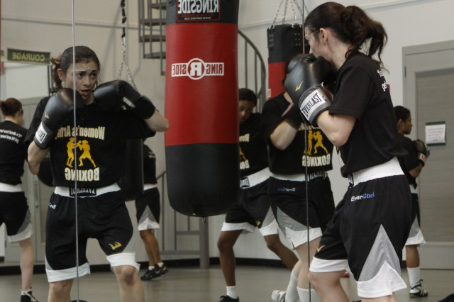 Class of 2013 Cadet Giovanna Camacho, team captain, practices during a recent training session as the team prepares for their West Point debut April 8, in five exhibition bouts against other East Coast collegiate boxers.