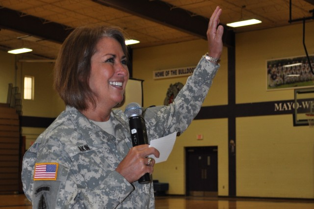 Milan, Tenn. - Brig. Gen. Robin Akin, commander for the 3rd Sustainment Command (Expeditionary), asks for students' questions following her speech at Milan High School on March 31, 2011.