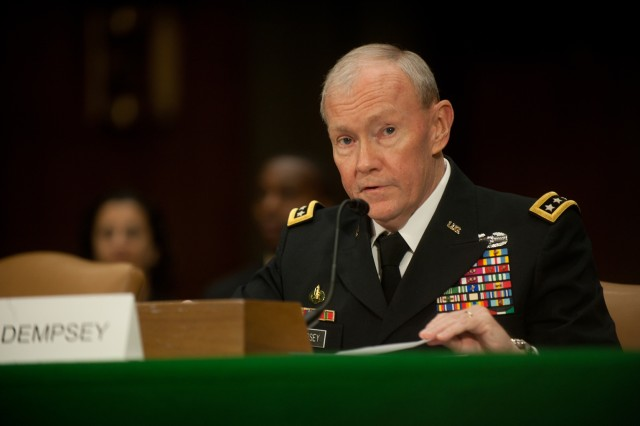 Gen. Martin Dempsey testifies during a Senate Armed Services Committee hearing on Capitol Hill in Washington D.C., Mar. 3, 2011.  Dempsey has been nominated by the President of the United States to serve as the 37th Chief of staff of the Army.