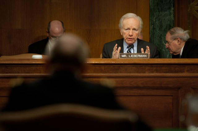 Senator Joseph Liberman asks a question to Gen. Martin Dempsey during a Senate Armed Services Committee hearing on Capitol Hill in Washington D.C., Mar. 3, 2011.  Dempsey has been nominated by the President of the United States to serve as the 37th Chief of staff of the Army.