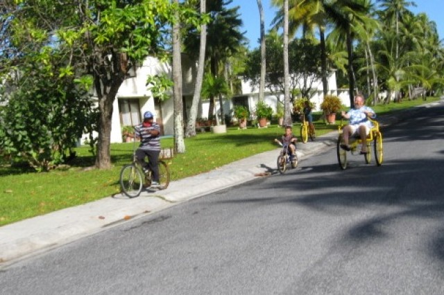 On the U.S. Army Kwajalein Atoll island, the most common means of transportion is walking or riding a bicycle.
