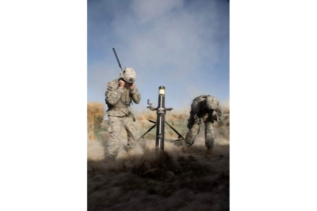 Spc. Nicholas Ketchen and Spc. Colt Corbin, mortarmen from Company C, 1st Battalion, 506th Infantry Regiment, 4th Brigade Combat Team, 101st Airborne Division, achieved a first in the U.S. Army history by firing a 120mm Mortar Precision Guided Munition for the first time in Afghanista, and hitting within four meters of the target, on Forward Operation Base Kushamond, Afghanistan, March 26.