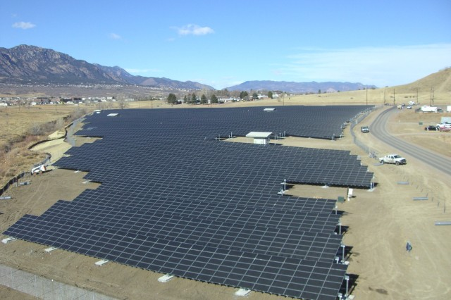 A two-megawatt solar panel array at Fort Carson, Colo., produces enough power for 540 homes.