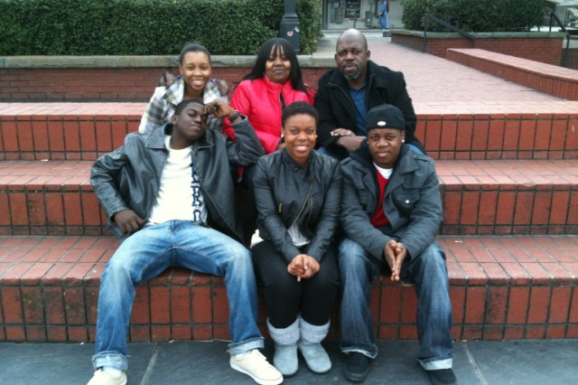 From left, in front row, are Jonathan Williams Jr., his sister Camil and their brother Joshua; and in back row, Jonathan Jr.'s wife Damesha and his parents Harriet and Jonathan.