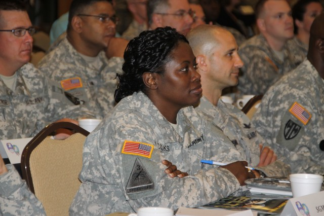 Attendees of the U.S. Army Space and Missile Defense Command/Army Forces Strategic Command Senior Enlisted Leaders Training Conference listen to a briefing during command's Senior Enlisted Leaders Training Conference held March 21-24 at Patrick Air Force Base, Fla.