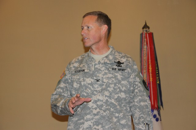 Col. Timothy R. Coffin, deputy commander for operations, U.S. Army Space and Missile Defense Command/Army Forces Strategic Command, briefs attendees during the Senior Enlisted Leaders Training Conference held March 21-24 at Patrick Air Force Base, Fla.