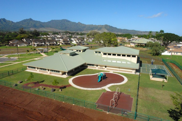 SCHOFIELD BARRACKS, Hawaii - The School Age Center, here, includes a playset and outdoor basketball court.