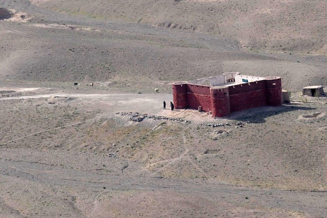 SPIN BOLDAK, Afghanistan - An aerial view of a Pakistan border security facility taken from a Blackhawk helicopter, April 4, 2011, near the Afghanistan-Pakistan border. Strongholds like this are located up and down the Afghanistan-Pakistan border, also called the Durand Line, to provide security and prevent drugs and explosives from entering the country. (Army Photo by Spc. Jonathan W. Thomas, 16th Mobile Public Affairs Detachment)