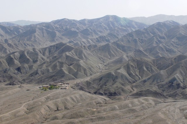 SPIN BOLDAK, Afghanistan - An aerial view of an Afghan Border Police facility taken from a Blackhawk helicopter, April 4, 2011, near the Afghanistan-Pakistan border. Strongholds like this are located up and down the border, also called the Duran Line, to provide security and prevent drugs and explosives from entering the country. (Army Photo by Spc. Jonathan W. Thomas, 16th Mobile Public Affairs Detachment)