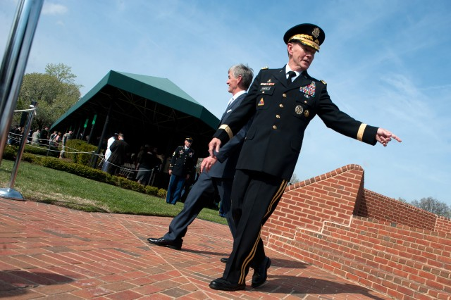 Gen. Martin E. Dempsey, Chief of Staff of the Army, at the conclusion of his arrival and swearing in ceremony on Ft. Myer, Va., Apr. 11, 2011.
