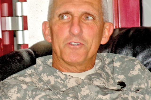 Lt. Gen. Mark P. Hertling had a chance to talk to Soldiers and family members in U.S. Army Garrison Baumholder during a visit April 4. Hertling took command of U.S. Army Europe on March 25.