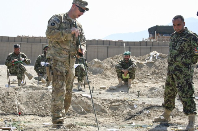 Capt. Jason Merchant, left, the commander of Company A, 1st Battalion, 133rd Infantry Regiment, Task Force Ironman reviews the plan for his unit with Afghan National Army Lt. Col. Shah Alom at Forward Operating Base Xio Haq, during the preparation stages for Operation Promethium Puma.