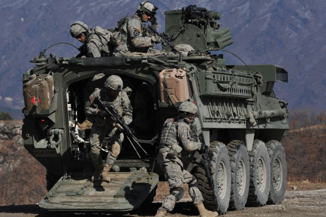 Soldiers exit Stryker