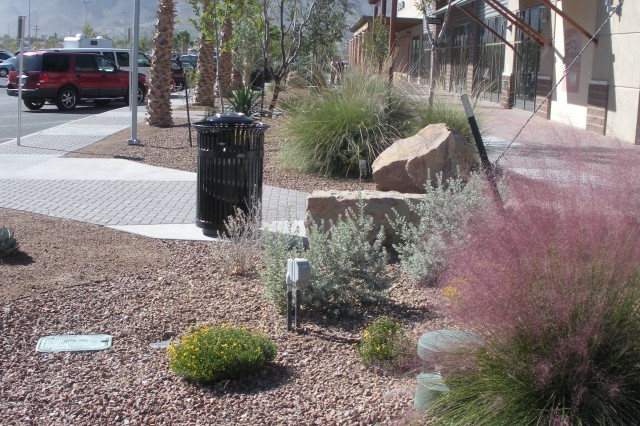 The landscaping and irrigation systems at AAFES facilities at Fort Bliss have been designed to reduce potable water consumption by 50 percent over standard landscape and irrigation designs.  Drip systems and native plant material require less water than typical planting materials.