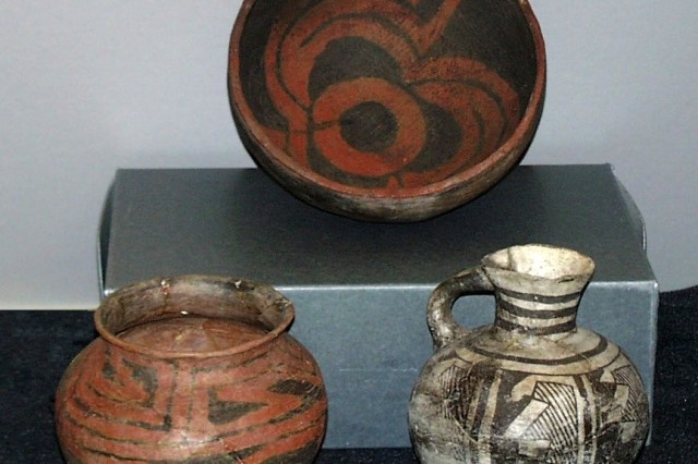 Prehistoric pottery form the Jornada Mogollon culture that was excavated from a Pueblo site on Fort Bliss, Texas. The collections are housed in the Curatorial facility on display for Soldiers and their family members to see.