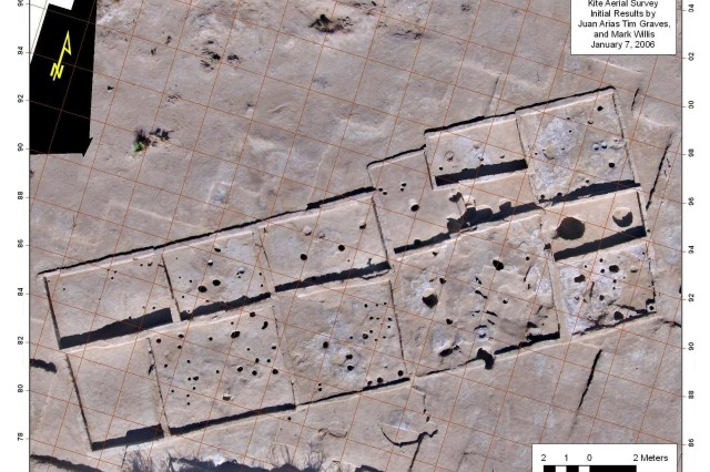 "Map of the ""Madera Quemada"" prehistoric pueblo site. The site was found during archeological investigations at Fort Bliss, Texas, during the summer of 2004, and it is thought to be one of the most intact multi-room adobe pueblos discovered in over twenty years. Fort Bliss received a New Mexico Heritage Preservation award for their work on this site."