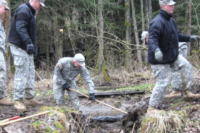 As part of squadron spur ride, members of the Fires Squadron on the 2nd Stryker Cavalry Regiment gained experience in nature protection. They repaired breakages at a dam with technical support from the German Forest Services and Grafenwoehr environmental division. The Soldiers preserved the wetlands and habitats of both beavers and kingfisher.