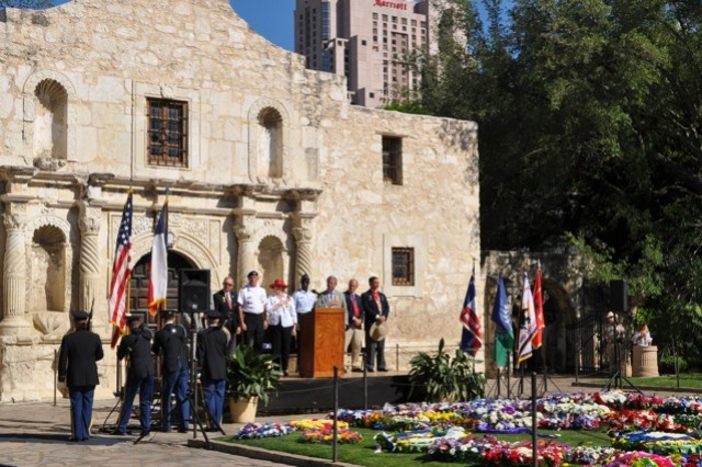 Brig. Gen. Thomas A. Horlander, Installation Management Command director of resource management, and Command Sgt. Maj. Neil Ciotola took part in the Pilgrimage to the Alamo Monday April 11 at 4 p.m. Since 1925, the Daughters of the Alamo have led this time-honored tradition to pay homage to the defenders of the fateful garrison.   A solemn procession of various civic organizations, patriotic groups and military units and commands silently carry wreaths six blocks from the Municipal Auditorium and lay them to rest in front of the Alamo. A voice calls out the names of the defenders who gave their lives for Texas independence.