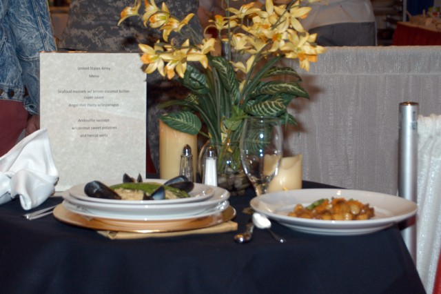 The Army's entry included andouille sausage, coconut sweet potatoes and French green beans. This gourmet-style meal was prepared in under 90 minutes during the Magnificent Mile Bistro Challenge, part of the International Food Service Executive Association's 110th annual conference and trade show April 1.  (U.S. Army photo by Keith Desbois)