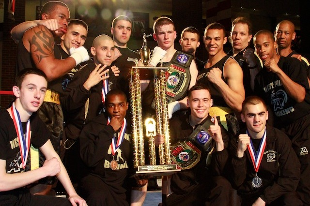 The West Point Boxing Team posed for a team photo after being named National Collegiate Boxing Association's Team National Champion for the fourth straight year.