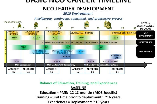 The graphic above illustrates the new Basic NCO Career Timeline, a deliberate, continuous, sequential and progressive process aimed at fostering enlisted leadership development by fiscal year 2015.
