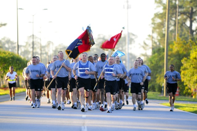 Major General Tony Cucolo leads the division down Gulick Ave., in his final run as 3rd Infantry Division commanding general, April 13.  See story page 3A.