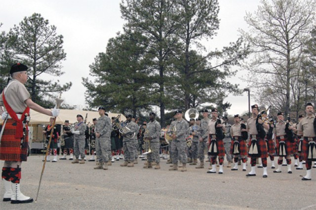 The Celtic Festival opening ceremony Saturday featured three pipe and drum groups playing in unison with the 392nd Army Band.