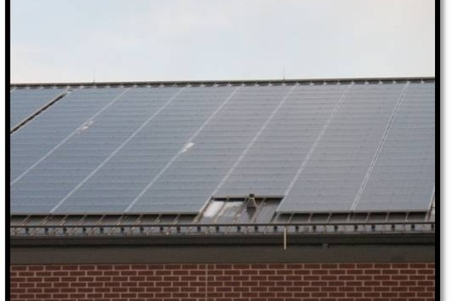 Evidence of a sustainability approach, such as this photovoltaic solar panel system on the roof of the 99th Regional Support Command headquarters at Joint Base McGuire-Dix-Lakehurst, N.J, are cropping up throughout the Army Reserve and the military as a whole.