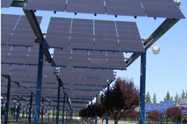 A 1-megawatt solar array being built at Fort Hunter Liggett, Calif., like these solar arrays displayed at the Sacramento State Fairgrounds in Sacramento, Calif., will conserve energy and save taxpayer dollars.