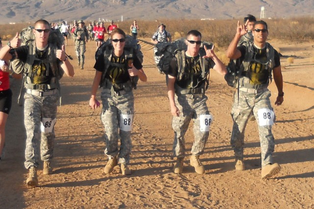 From left to right: Pfc. Robert Carroll, Pfc. Tiffany Byers, Spc. Anthony Spires and Sgt. Axel Cardona traveled to White Sands, N.M., March 27, with 1st Sgt. Brian Stuckey to compete in the Bataan Memorial Death March.