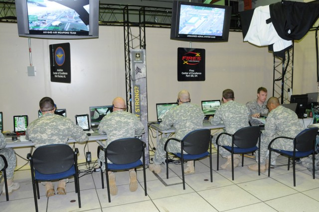 Soldiers from USAACE, USAALS, MCoE and FCoE run a battle simulation at Fort Rucker April 7 in preparation for an ALC 2015 demonstration.