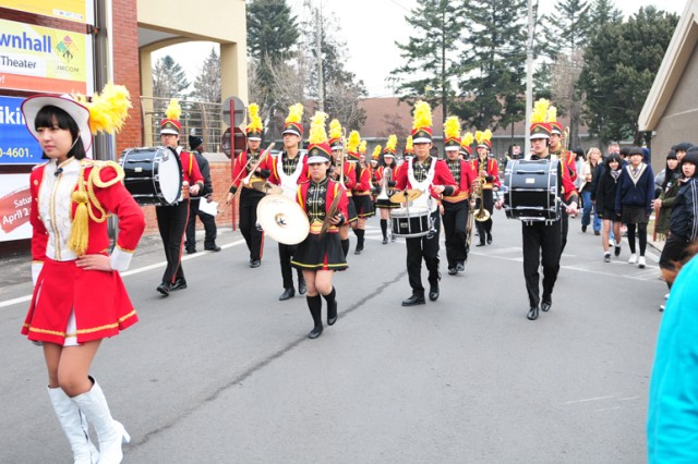 The Korea Culture Media High School marching band from Dongducheon joined the 2nd Infantry Division Band in the parade during the Community Spring Fest April 2 at Camp Red Cloud.