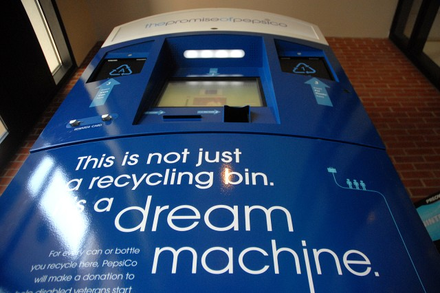 A PepsiCo Dream Machine is located at the west entrance of the Fort Leavenworth, Kan., Post Exchange. Another credit-giving recycling machine is at the Lewis and Clark Center.