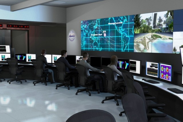 A digital recreation of the control center of the Ronald Reagan Test Ballistic Missile Defense Test Site Operations Center (ROC) located in Huntsville as it keeps track of satellites from facilities located more than 7,000 miles away at The Ronald Reagan Ballistic Missile Defense Test Site at Kwajalein Atoll, Republic of the Marshall Islands.