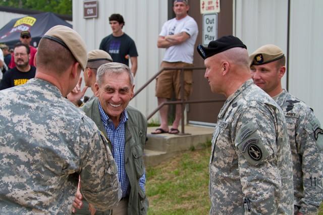 Retired Lt. Gen. David E. Grange, Jr. meets with Ranger Training Brigade cadre during the 2011 Best Ranger Competition.