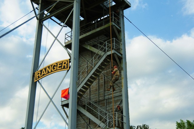 A Best Ranger competitor takes on the Prusik climb tower April 16 during day two of the 2011 Best Ranger Competition at Fort Benning, Ga.