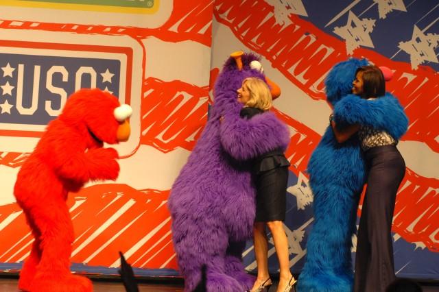 Michelle Obama, Jill Biden meet Elmo