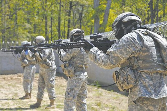 Soldiers with Echo Company, 1st Battalion, 3rd U.S. Infantry Regiment (The Old Guard), occupied the Ultimate Training Munitions (UTM) range at Fort A.P. Hill, Va. last year. A new UTM range is expected to open this month on Joint Base Myer-Henderson Hall allowing Soldiers to receive the same tactical training without the drive to Fort A.P. Hill.