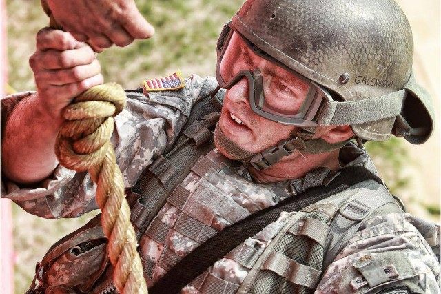 A competitor takes on Day Stakes during the 2011 Best Ranger Competition at Fort Benning, Ga.