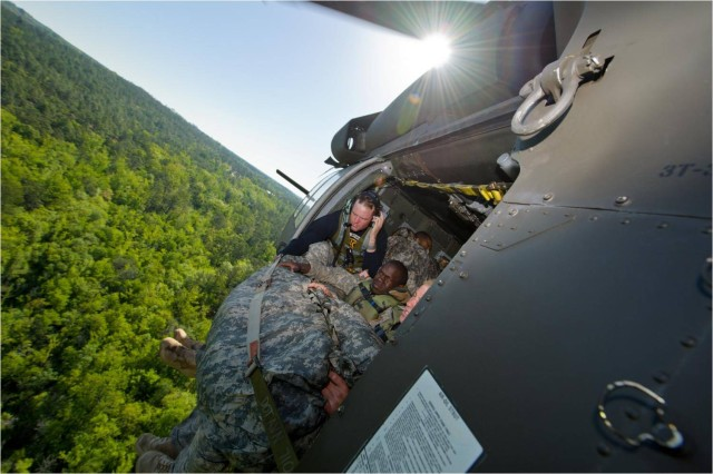 Rangers compete in the helocast during Day 3 of the 2011 Best Ranger Competition at Fort Benning, Ga.