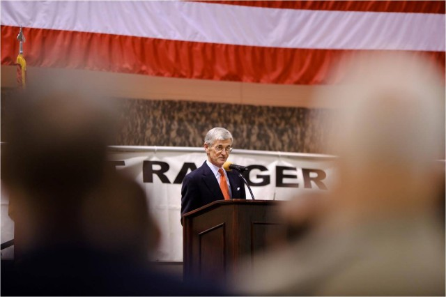 Secretary of the Army John McHugh addresses the crowd during the 2011 Best Ranger Competition Awards Ceremony.