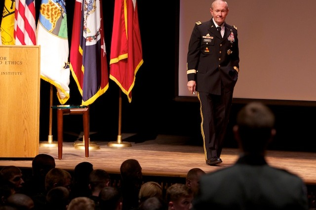 Army Chief of Staff Gen. Martin Dempsey takes a question from a Cadet during the opening ceremony of the George C. Marshall Awards and Leadership Seminar Monday.