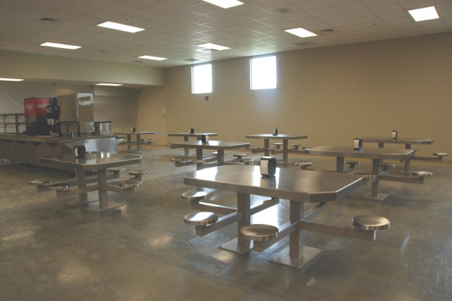This is a view of the seating and part of the serving line in the dining facility of the Joint Regional Correctional Facility at Fort Leavenworth, Kan.
