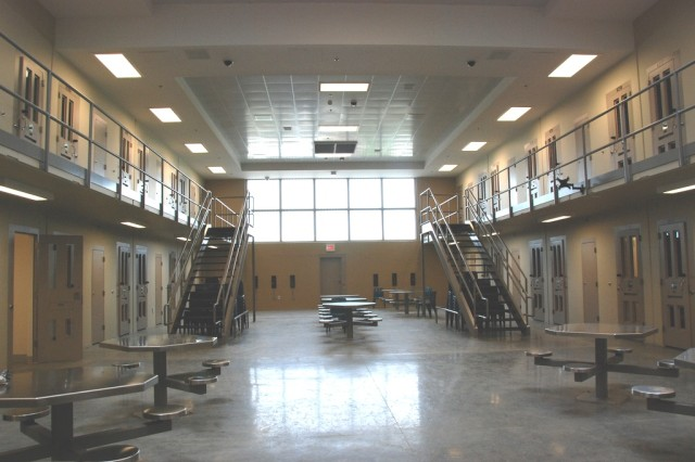 This is the common area in the confinement unit of the Joint Regional Correctional Facility at Fort Leavenworth, Kan.