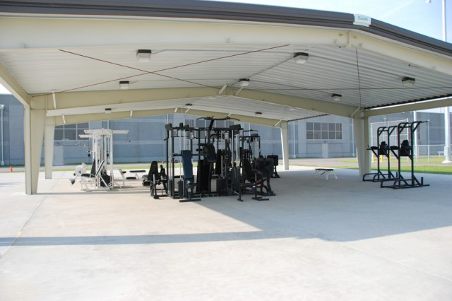 Here is the exterior recreation area at the Joint Regional Correctional Facility at Fort Leavenworth, Kan.