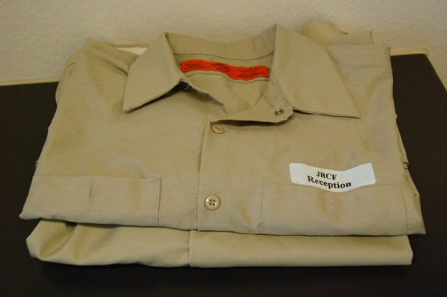 This is a uniform worn by people in the pre-trial unit of the Joint Regional Correctional Facility at Fort Leavenworth, Kan.