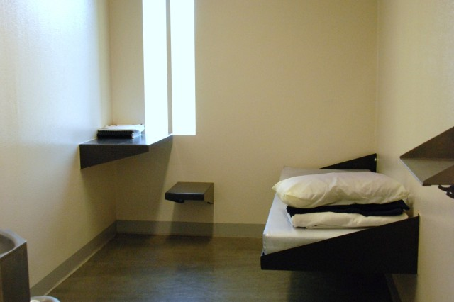 This is a cell in the pre-trial confinement unit of the Joint Regional Correctional Facility at Fort Leavenworth, Kan.